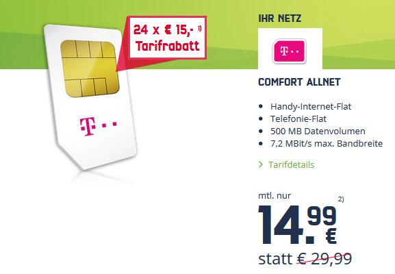 24 Monate 15 € Rabatt im comfort Allnet-Tarif