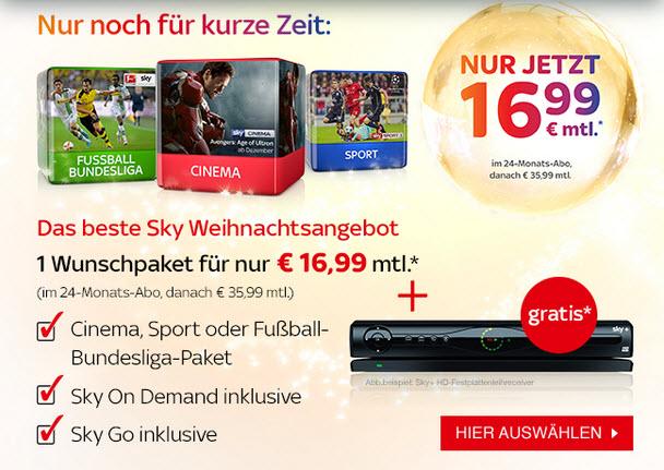 Sky Neujahrsangebot: Wunschpaket für 16,99 €