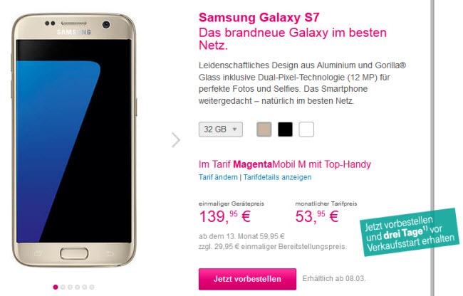 Samsung Galaxy S7 Mit Magenta Mobil Tarif Für 1