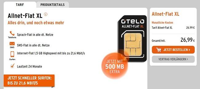 otelo Allnet Flat XL Vertrag