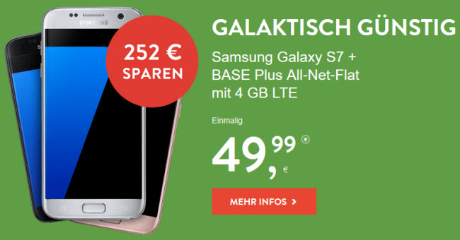 samsung galaxy s7 edge mit base pur 4 gb f r 49 99. Black Bedroom Furniture Sets. Home Design Ideas