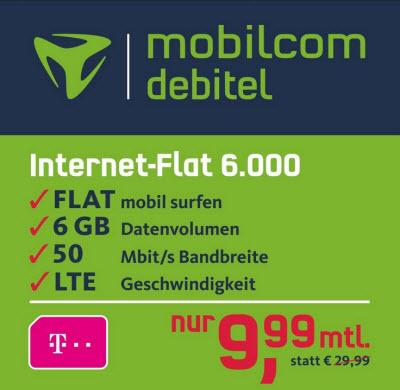 mobilcom-debitel Internet-Flat 6.000 im Telekom-Netz für 9