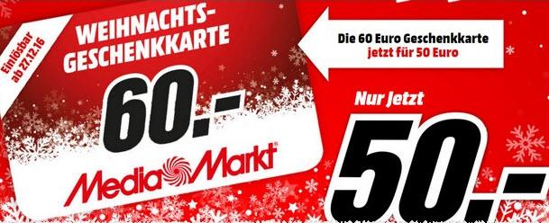 Media Markt Geschenkkarte 60 Für 50