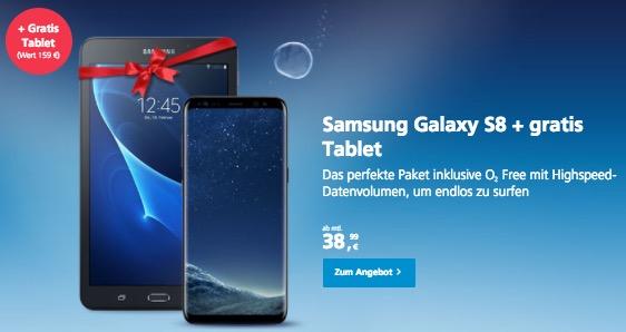 O2 Gratis Tablet Aktion Galaxy S8 Samsung Tablet Gratis