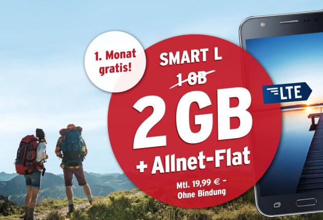 Tchibo mobil Smart L Allnet Flat mit 2 GB für 19,99